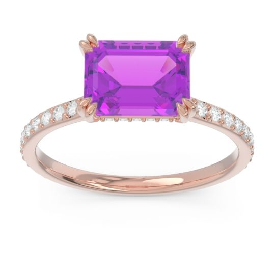 East-West Pave Octagon Luta Amethyst Ring with Diamond in 14K Rose Gold