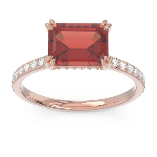 East-West Pave Octagon Luta Garnet Ring with Diamond in 18K Rose Gold