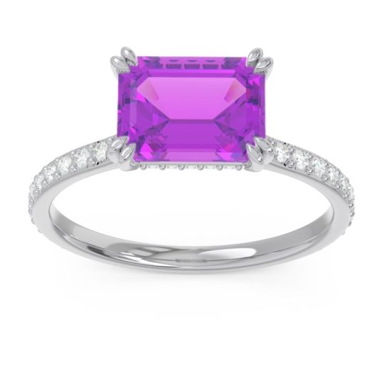 East-West Pave Octagon Luta Amethyst Ring with Diamond in Palladium