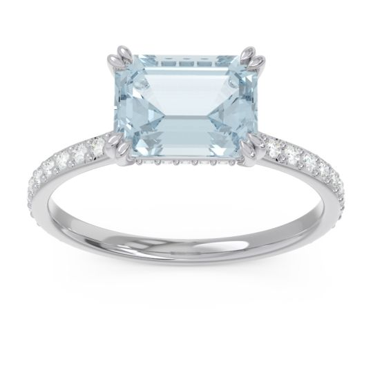 East-West Pave Octagon Luta Aquamarine Ring with Diamond in 14k White Gold
