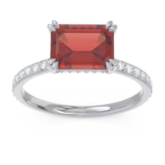 East-West Pave Octagon Luta Garnet Ring with Diamond in 14k White Gold