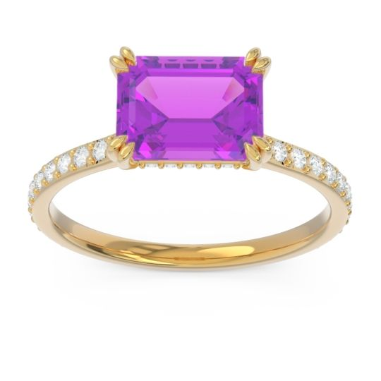 East-West Pave Octagon Luta Amethyst Ring with Diamond in 14k Yellow Gold