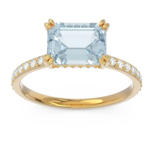 East-West Pave Octagon Luta Aquamarine Ring with Diamond in 14k Yellow Gold