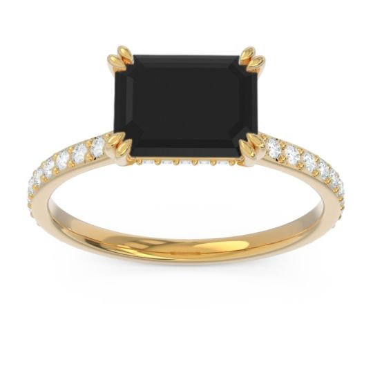 East-West Pave Octagon Luta Black Onyx Ring with Diamond in 14k Yellow Gold