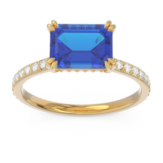 East-West Pave Octagon Luta Blue Sapphire Ring with Diamond in 14k Yellow Gold