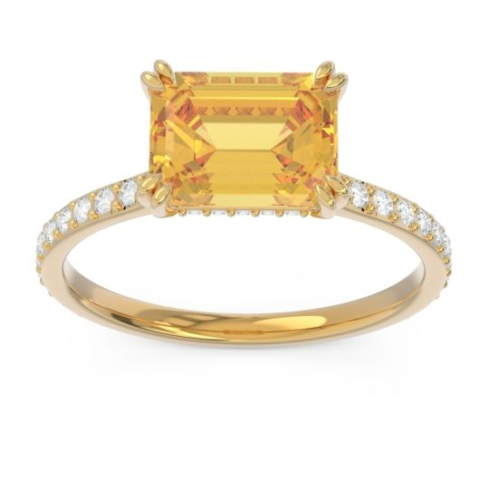 East-West Pave Octagon Luta Citrine Ring with Diamond in 14k Yellow Gold