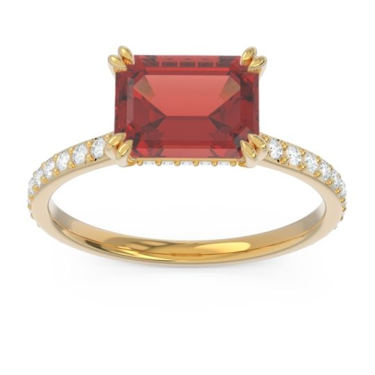 East-West Pave Octagon Luta Garnet Ring with Diamond in 14k Yellow Gold