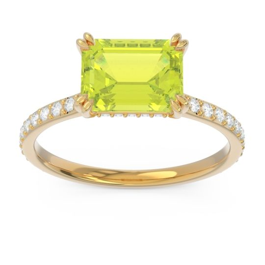 East-West Pave Octagon Luta Peridot Ring with Diamond in 14k Yellow Gold