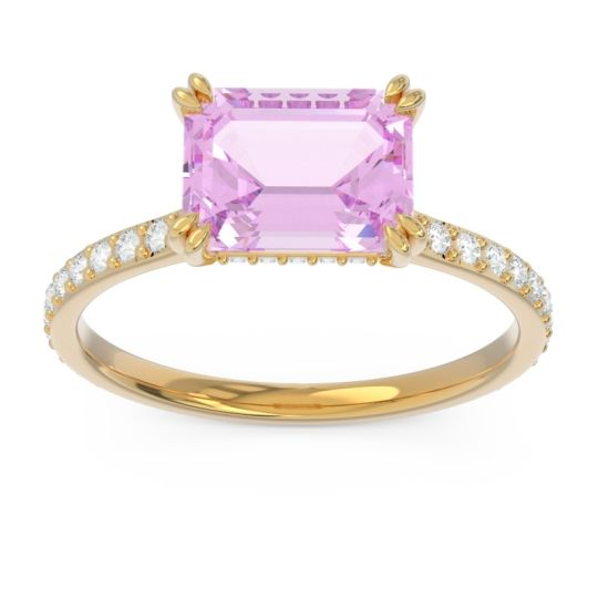East-West Pave Octagon Luta Pink Tourmaline Ring with Diamond in 14k Yellow Gold