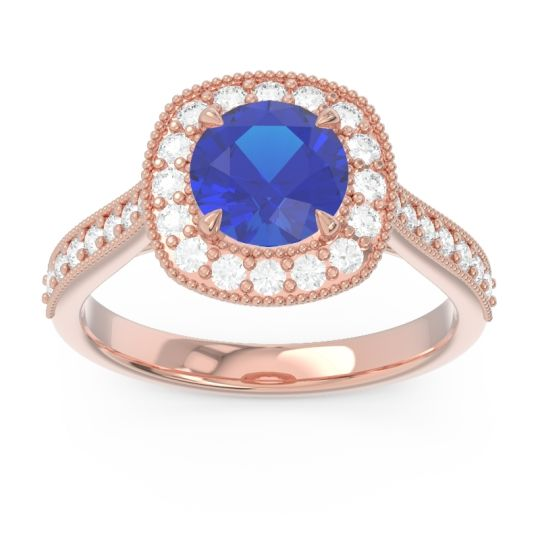 Cathedral Halo Migrain Bahurupaka Blue Sapphire Ring with Diamond in 14K Rose Gold