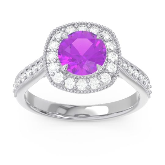 Cathedral Halo Migrain Bahurupaka Amethyst Ring with Diamond in 14k White Gold