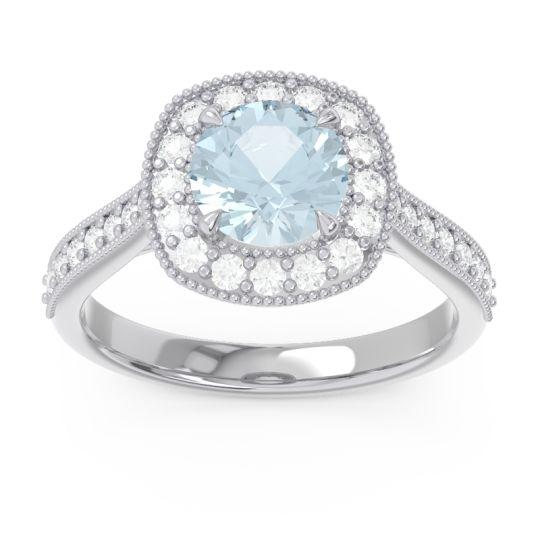 Cathedral Halo Migrain Bahurupaka Aquamarine Ring with Diamond in 14k White Gold