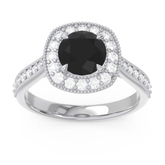 Cathedral Halo Migrain Bahurupaka Black Onyx Ring with Diamond in 14k White Gold
