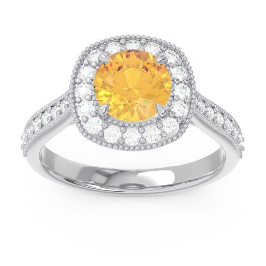 Cathedral Halo Migrain Bahurupaka Citrine Ring with Diamond in 14k White Gold