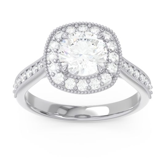 Cathedral Halo Migrain Bahurupaka Diamond Ring in 14k White Gold