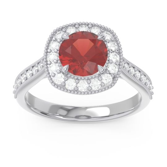 Cathedral Halo Migrain Bahurupaka Garnet Ring with Diamond in 14k White Gold