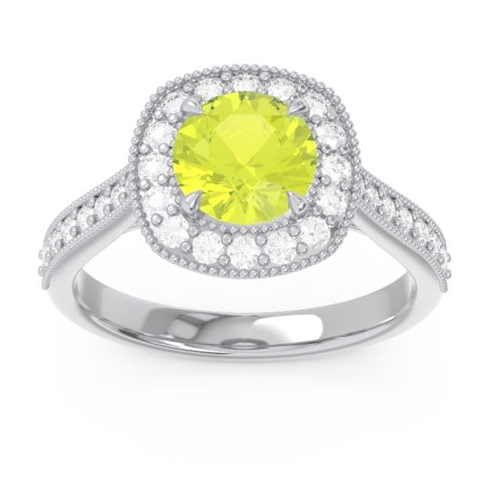 Cathedral Halo Migrain Bahurupaka Peridot Ring with Diamond in 14k White Gold