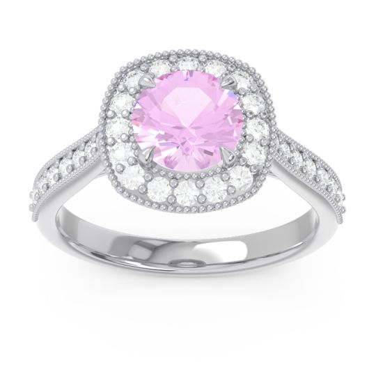 Cathedral Halo Migrain Bahurupaka Pink Tourmaline Ring with Diamond in 14k White Gold