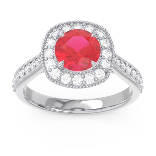 Cathedral Halo Migrain Bahurupaka Ruby Ring with Diamond in 14k White Gold