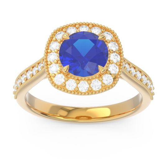 Cathedral Halo Migrain Bahurupaka Blue Sapphire Ring with Diamond in 14k Yellow Gold