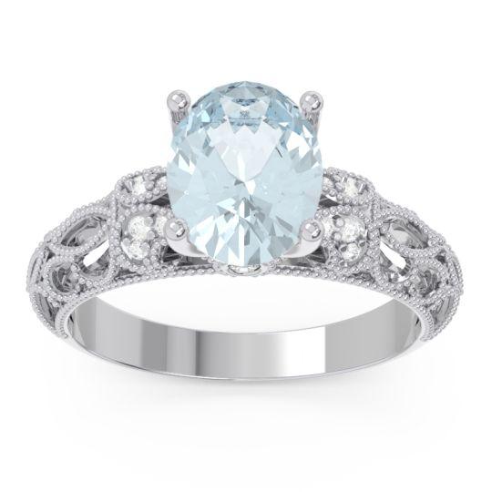 Art Deco Milgrain Oval Vatavat Aquamarine Ring with Diamond in 14k White Gold