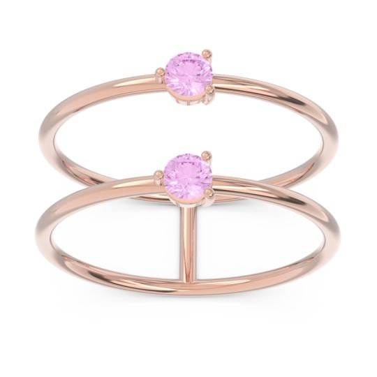 Simple Double Line Anukrta Pink Tourmaline Band in 14K Rose Gold