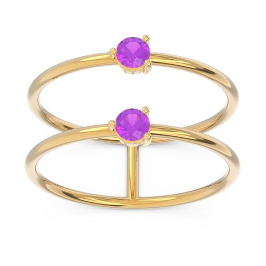 Amethyst Simple Double Line Anukrta Band in 14k Yellow Gold
