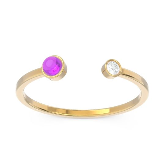 Petite Modern Bezel Asamana Amethyst Band with Diamond in 14k Yellow Gold