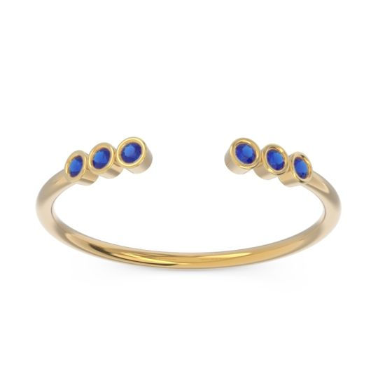 Petite Open Bezel Samaveda Blue Sapphire Band in 14k Yellow Gold