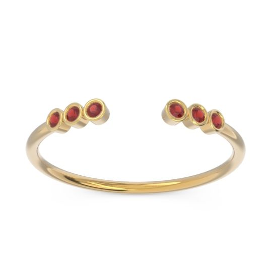 Garnet Petite Open Bezel Samaveda Band in 14k Yellow Gold