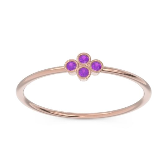 Petite Bezel Ambudhi Amethyst Band in 14K Rose Gold