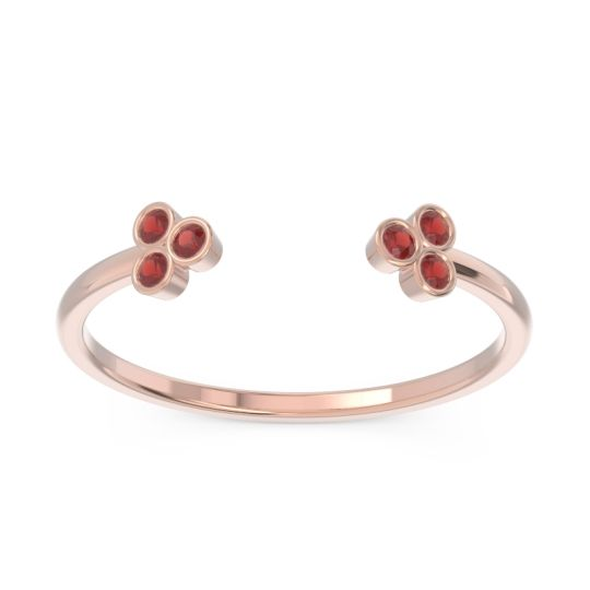 Petite Open Bezel Tryazra Garnet Band in 14K Rose Gold
