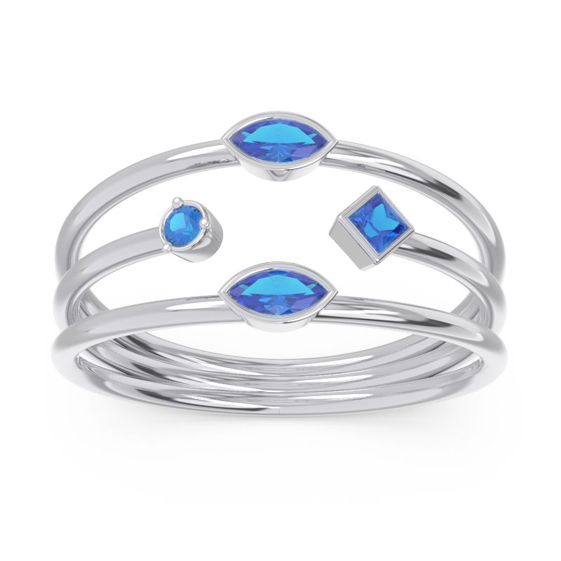 Simple Triple Line Open Avaisamya Band with Blue Sapphire in 14k White Gold