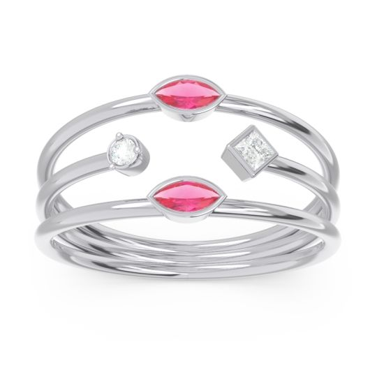 Simple Triple Line Open Avaisamya Ruby Band with Diamond in 14k White Gold