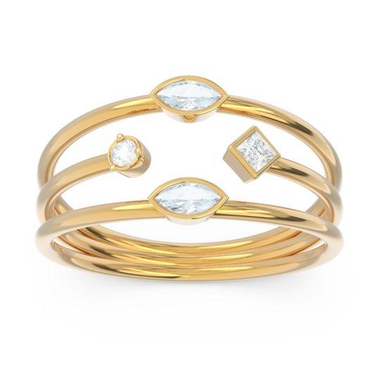 Simple Triple Line Open Avaisamya Aquamarine Band with Diamond in 14k Yellow Gold
