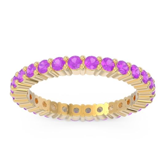 Eternity Pave Nihzesa Amethyst Band in 14k Yellow Gold