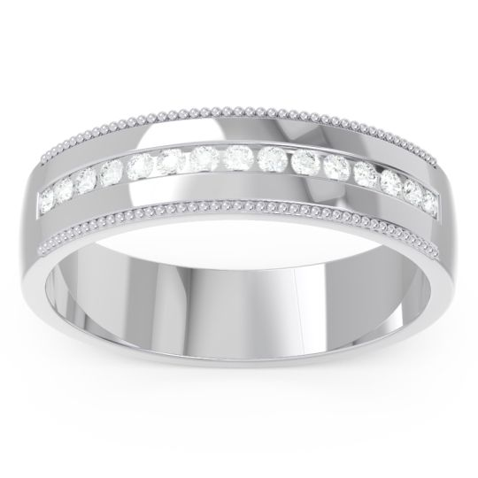 Polished Milgrain Channel Set Tulita Men's Diamond Band in 14k White Gold