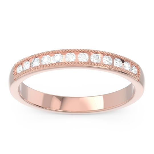 Half Eternity Milgrain Channel Set Tulita Diamond Band in 14K Rose Gold