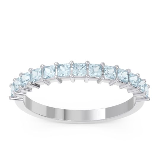 Half Eternity Pave Princess Lepyakara Aquamarine Band in 14k White Gold