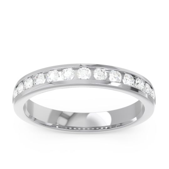 Half Eternity Channel Set Bila Diamond Band in 14k White Gold