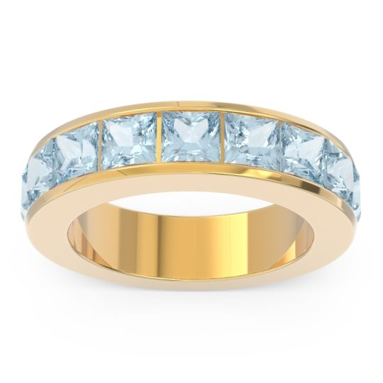 Half Eternity Channel Set Princess Nirmana Aquamarine Band in 14k Yellow Gold