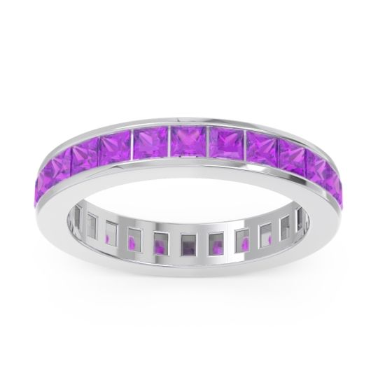 Eternity Channel Set Princess Pagkara Amethyst Band in 14k White Gold