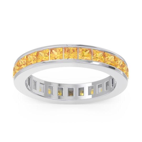 Eternity Channel Set Princess Pagkara Citrine Band in 14k White Gold