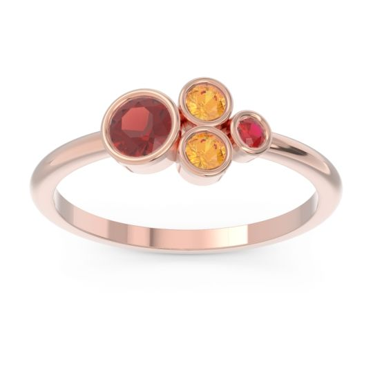 Petite Modern Bezel Utkara Garnet Ring with Citrine and Ruby in 18K Rose Gold