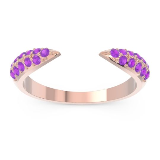 Modern Open Pave Sandamza Amethyst Ring in 14K Rose Gold