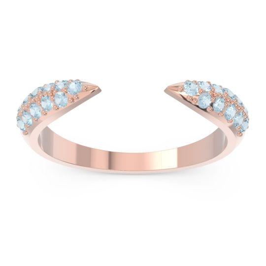 Modern Open Pave Sandamza Aquamarine Ring in 14K Rose Gold