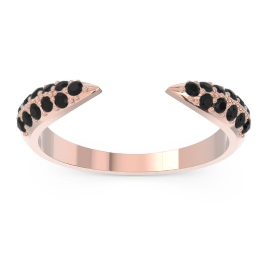 Modern Open Pave Sandamza Black Onyx Ring in 14K Rose Gold