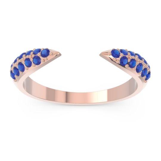 Modern Open Pave Sandamza Blue Sapphire Ring in 14K Rose Gold