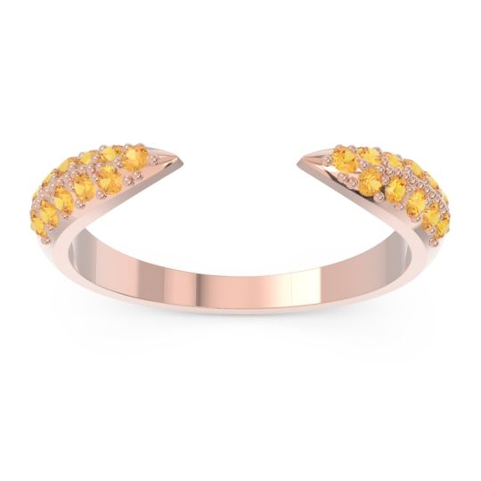Modern Open Pave Sandamza Citrine Ring in 14K Rose Gold