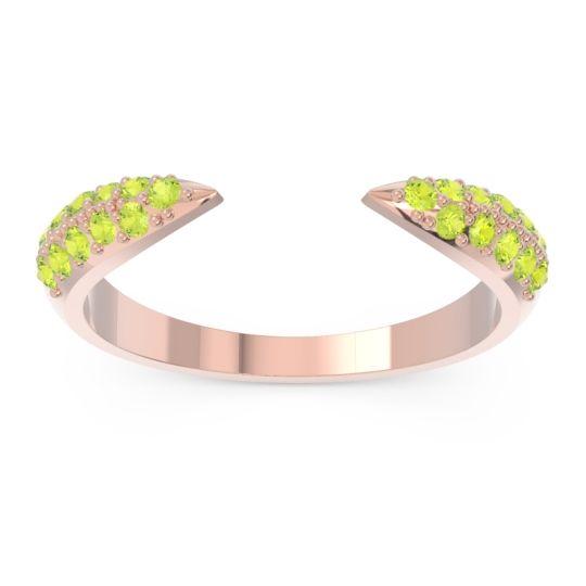 Modern Open Pave Sandamza Peridot Ring in 14K Rose Gold